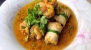 Món ăn chay Đậu hủ cuộn rau củ sốt nước tương